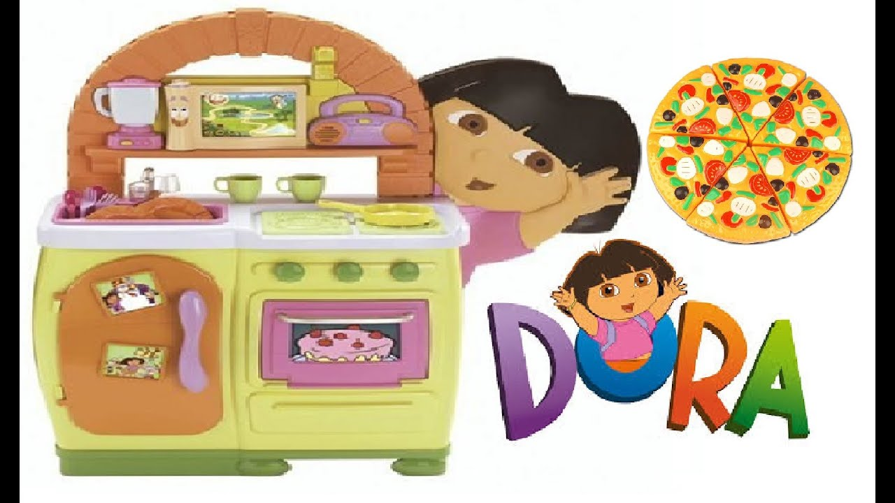 dora the explorer kitchen playset for kids teatime pizza party rh youtube com dora the explorer kitchen accessories dora the explorer kitchen set target