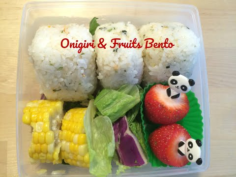 Making a Cute Onigiri and Fruits Bento is Quick and Easy.
