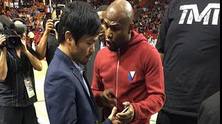 Full Video: Floyd Mayweather & Manny Pacquiao meet in Miami & exchange phone numbers