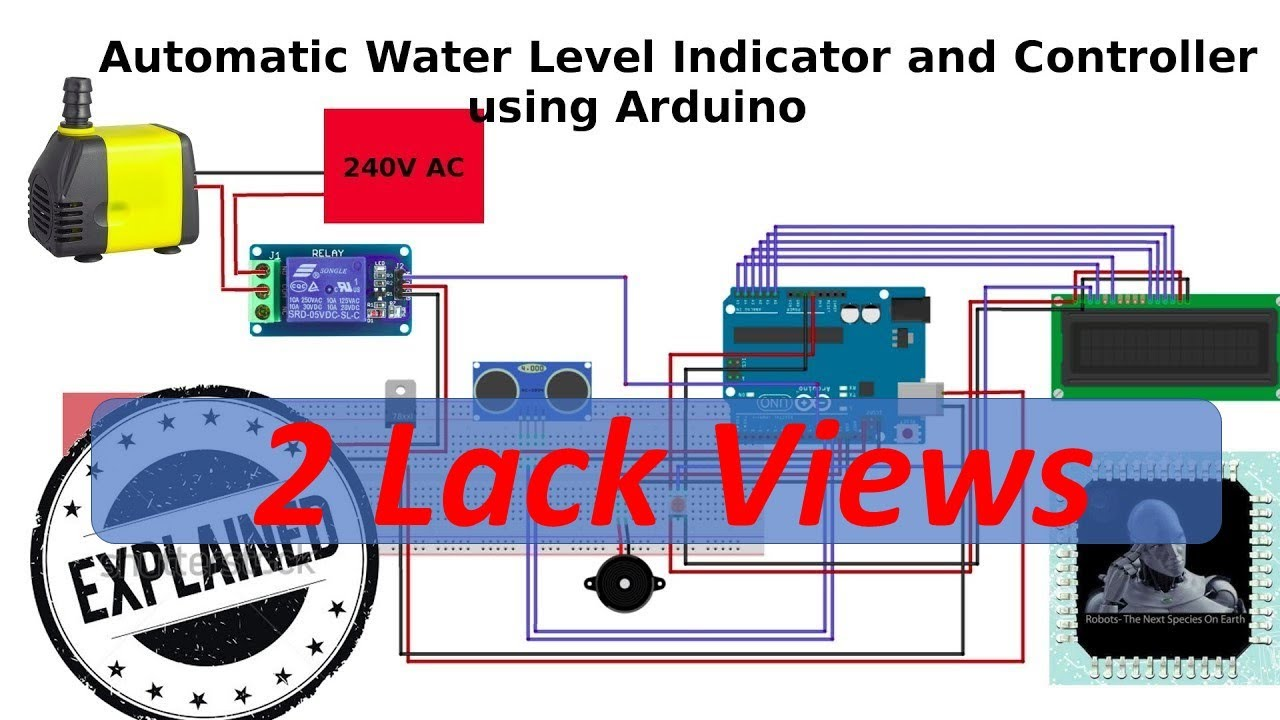 automatic water level indicator and pump controller using arduino [ 1280 x 720 Pixel ]