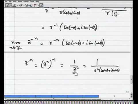 Mod-01 Lec-02 de Moivre's Formula and Stereographic Projection