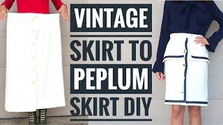 DIY Old Skirt to Sailor-inspired Peplum Skirt