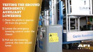 AFI MEWP Emergency Lowering videos Genie GR12, GR15, GR20
