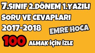 7.SINIF FEN BİLİMLERİ 2.DÖNEM 1.YAZILI SORULARI 2018