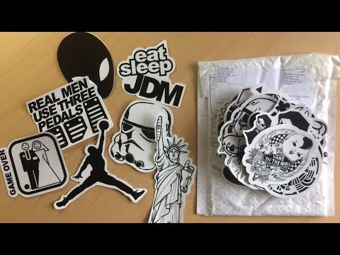 Unboxing 100 pcs Black And White sticker bomb -Car Stickers, Laptop Covers DIY Decal Sticker Bomb