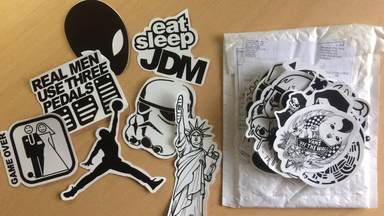 Unboxing 100 pcs black and white sticker bomb car stickers laptop covers diy decal sticker bomb