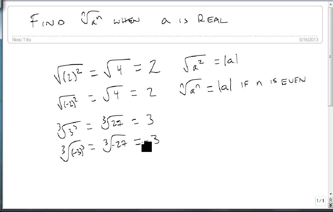 Find nth root of a^n where a is Real