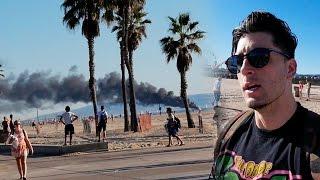 INSANE BOAT FIRE VENICE BEACH!