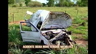 Nove pessoas ficam feridas em acidente na BR-262, em Pará de Minas