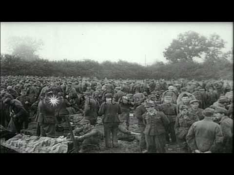 Damage caused during World War II and German prisoners at a prison camp in France...HD Stock Footage