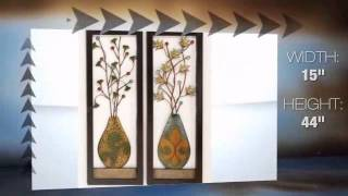 Leaves and Mallow Vases Metal Wall Art