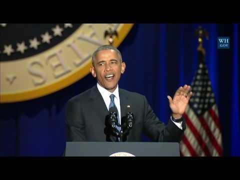 Пример повторения слов. Обама. Прощальная речь президента.