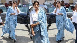Sonam Kapoor's Stylish RIPPED Denim Saree Avatar | Veere Di Wedding Movie Promotion