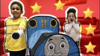 Magic Pretend Play Transforms Cali into Thomas The Train
