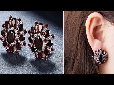 Garnet Earrings Studs