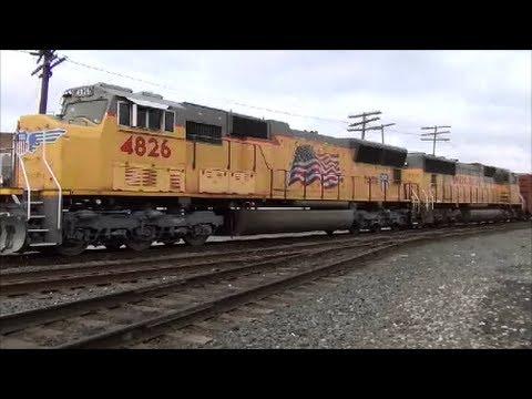 Union Pacific EMD locomotives on a CSX Train Muncie Indiana