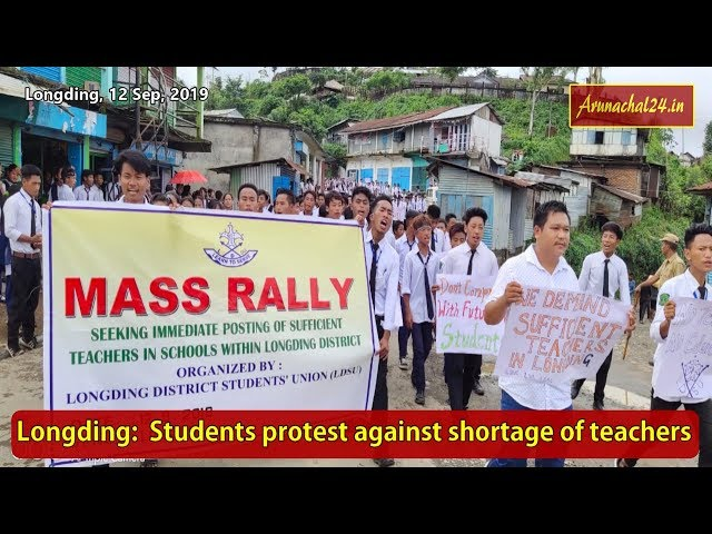 Longding-  Students protest against shortage of teachers