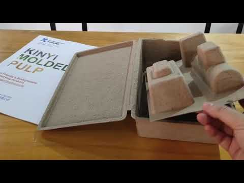 Recycled paper pulp molded cosemtic packaging box