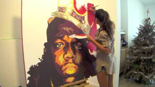 Notorious B.I.G fast motion Pop art style painting by Albina Su