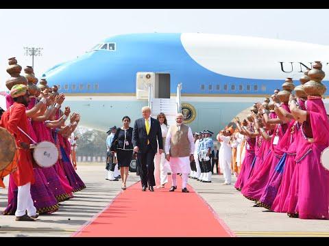 PM Modi Welcomes U.S. President Trump At Ahmedabad Airport