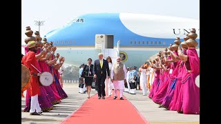 PM Modi Welcomes U.S. President Trump At Ahmedabad Airport