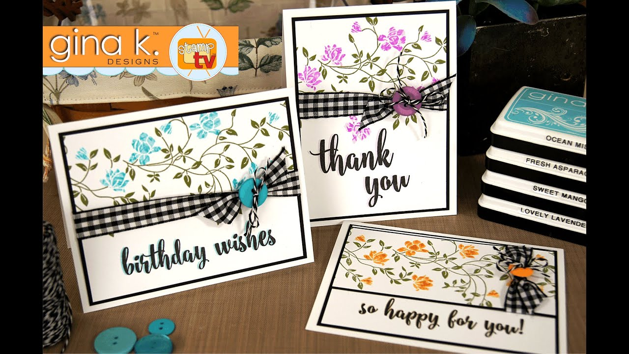 Card Making Ideas Gina K Part - 46: Wild Blossoms- Waterbased Inking Technique - YouTube