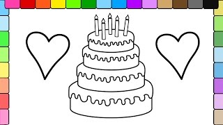 Learn to Colors for Kids and Color Stripe Birthday Cake and Hearts Coloring Pages