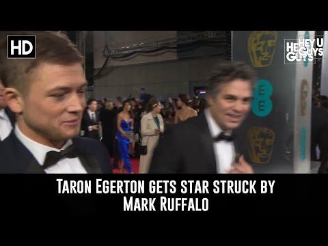 Hilarious  Taron Egerton StarStruck by Mark Ruffalo on the BAFTA Red Carpet!