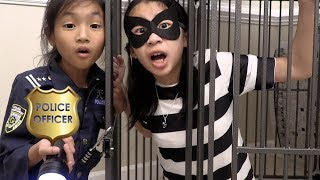 Pretend Play Police Officer Chloe got LOCKED UP in Jail Playhouse