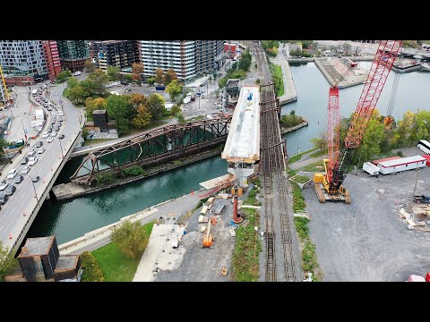 Drone Footage Of REM Construction In Pointe-St-Charles And Downtown Montreal