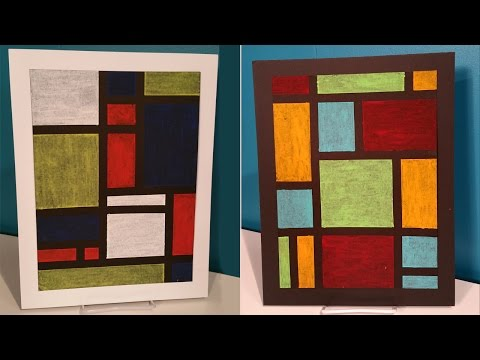 Create Easy Modern Oil Pastel Art - Inspired by Piet Mondrian