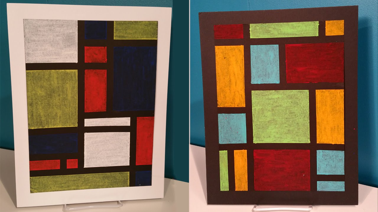 Create easy modern oil pastel art inspired by piet mondrian youtube
