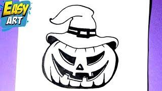 como dibujar una calabaza - how to draw a pumpkin - como dibujar halloween