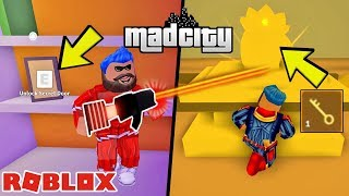 HOW TO BUY A NEW LASER GUN AND A SECRET KEY? Roblox Mad City / Roblox English