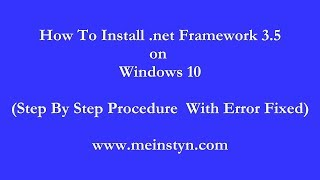 Video id 22731 about Fix  NET Framework 3 5 Error 0x800F0954