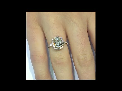 3 ct Antique Cushion Brown Diamond Engagement Ring in Rose Gold Halo