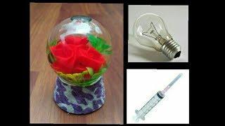How to make snow globe  flower  waste fuse bulb  flower DIY