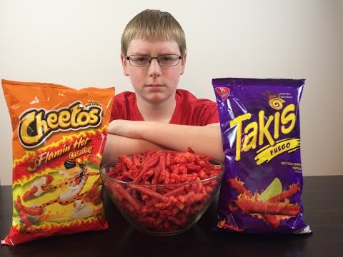 13-yr-old does Takis Fuego & Hot Cheetos Challenge : Crude Brothers