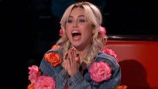 'The Voice' Sneak Peek: Watch Miley Cyrus Hilariously Lose It During the Blind Auditions