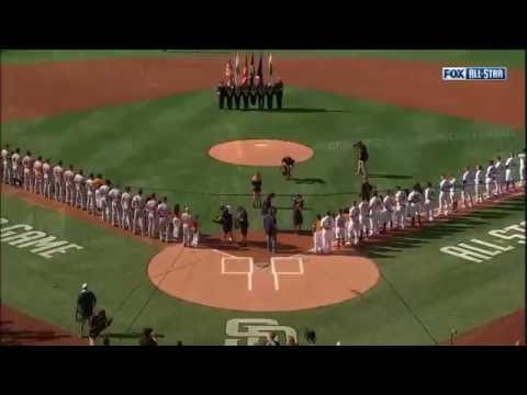 Rachel Platten performs the national anthem at Petco Park before the 2016 MLB All-Star Game
