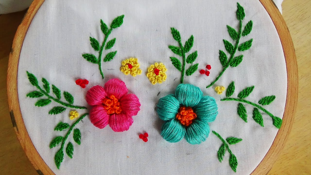 hand embroidery puffed satin
