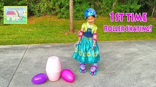 FROZEN ANNA LEARNS TO ROLLER SKATE Opening Disney Surprise Eggs Toys Elsa Doll Musical Bicycle Toy