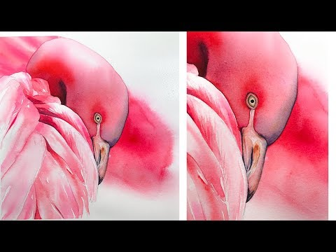 How to Paint a Flamingo and feathers in Watercolors