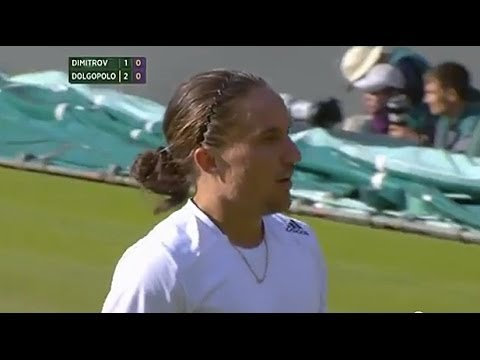 Dolgopolov hits ridiculous spin - Wimbledon 2014