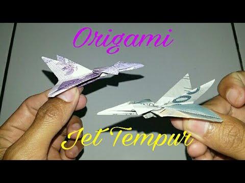 Cara bikin pesawat/jet tempur dari uang kertas - YouTube