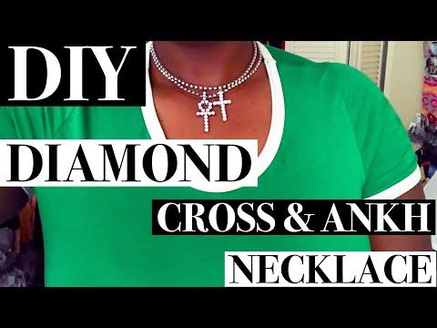 DIY DIAMOND ANKH/CROSS PENDANT|MAKE RHINESTONE NECKLACE FOR CHEAP | CRYSTAL JEWELRY TUTORIAL