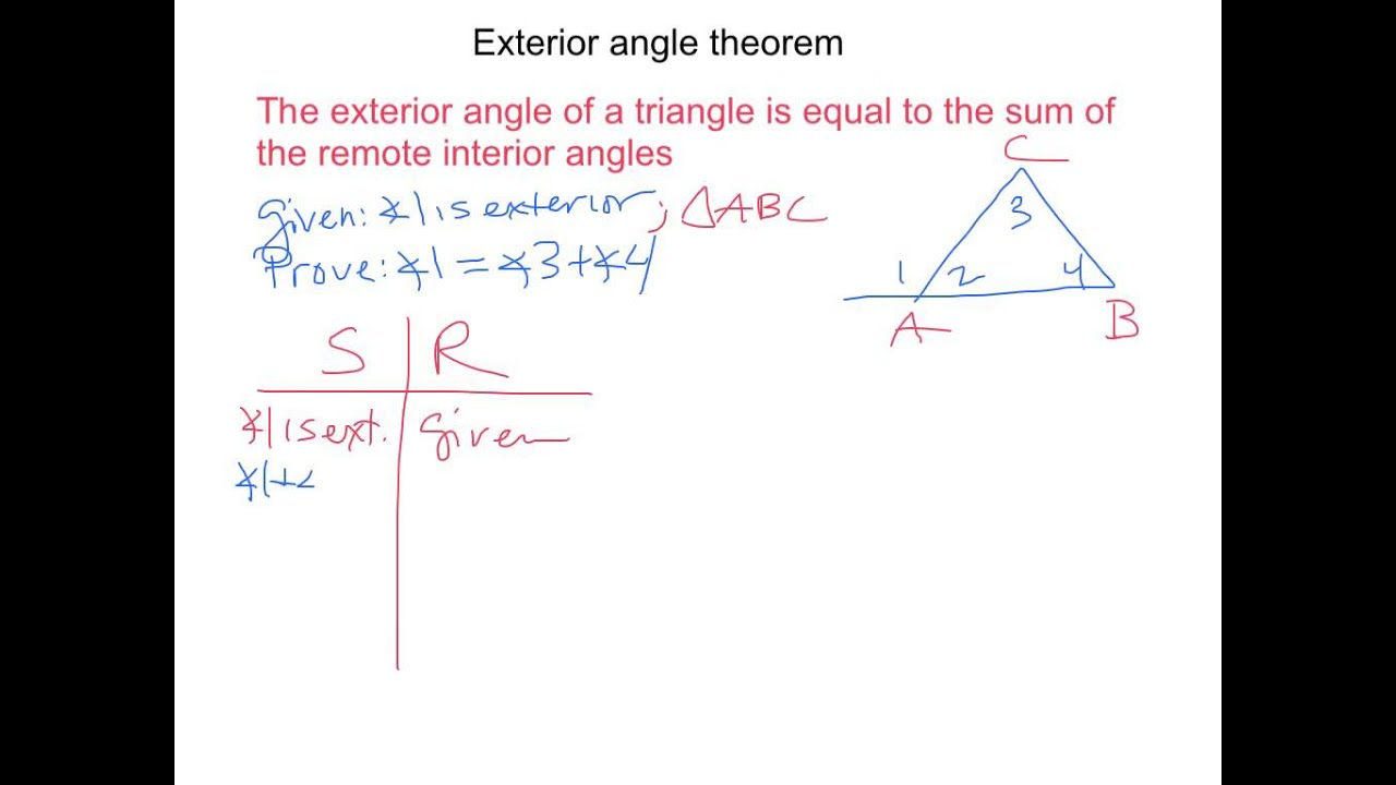 Exterior angle theorem proof youtube for Exterior angle theorem