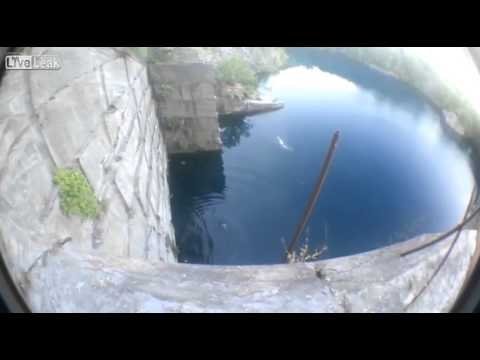 Young Kid Jumps off of 100 Foot Quarry