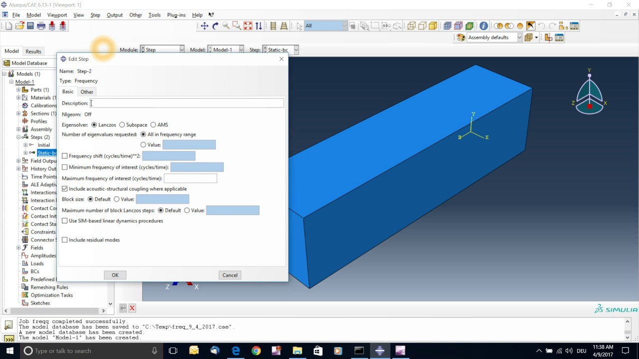 Abaqus Frequency Domain Tutorial 1