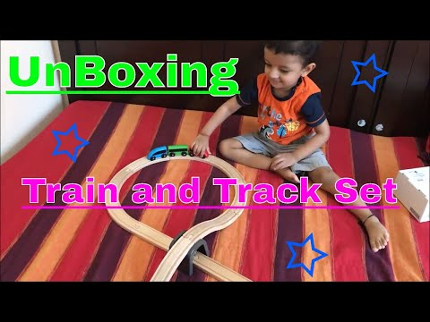Unboxing Wooden Train n Track set | Kid fun magnetic train | build Track | Birthday gift | Tunnels